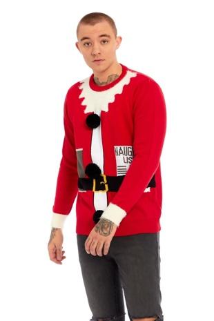 Mens Santa Suit Fine Knit Christmas Jumper