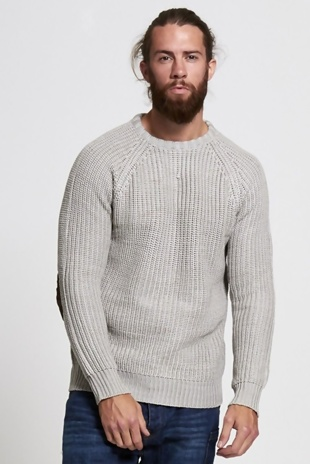 Mens Stone Cable Knit Patchwork Jumper