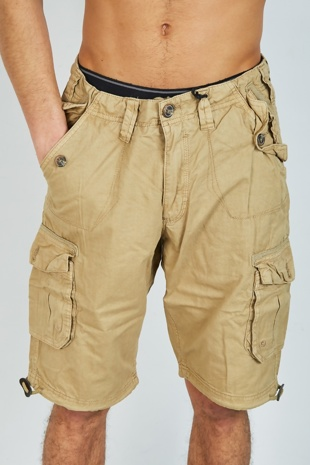 Mens Stone Twill Cotton Cargo Shorts
