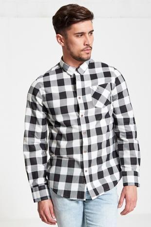 Mens White And Black Checked Shirt