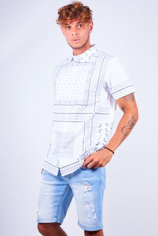 Mens White Bandana Printed Short Sleeve Shirt