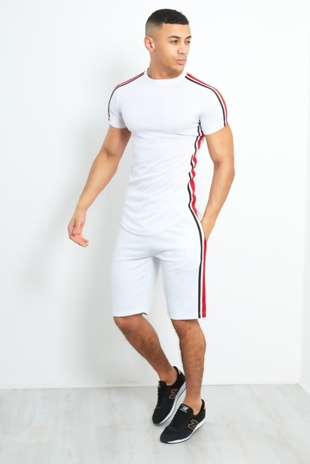 Mens White Contrast Side Stripe Shorts Set