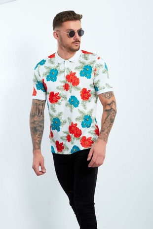 Mens White Floral Print Polo Shirt