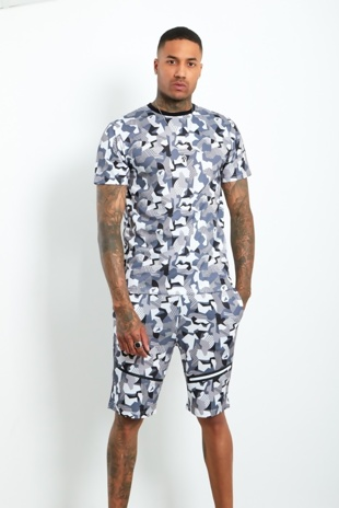 Mens White Geometric Pattern Zip Detail Short Set