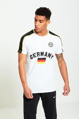 Mens White Germany Print Sports T-shirt