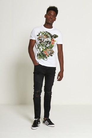 Mens White Graphic Print Skull T-shirt