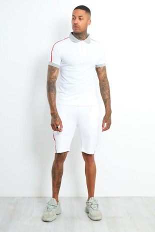 Mens White Polo Shirt And Short Set With Side Tape