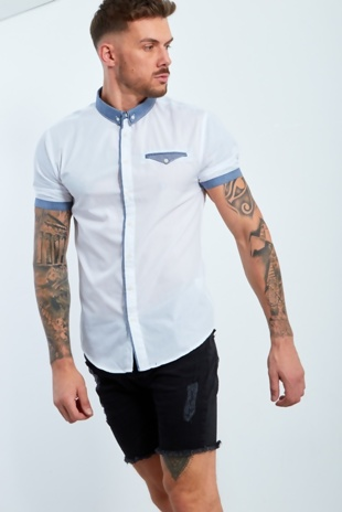 Mens White Shirt With Gingham Collar And Pocket