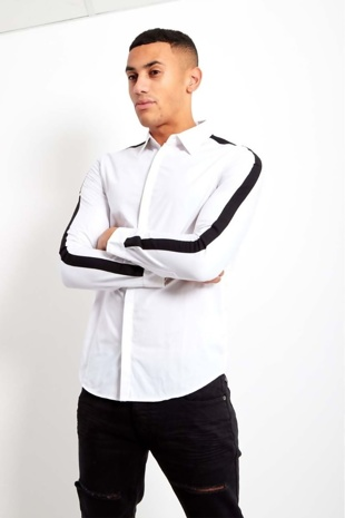 Mens White Shoulder Stripe Concealed Placket Shirt