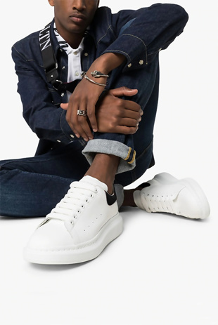 Mens White With Black Oversized Trainers