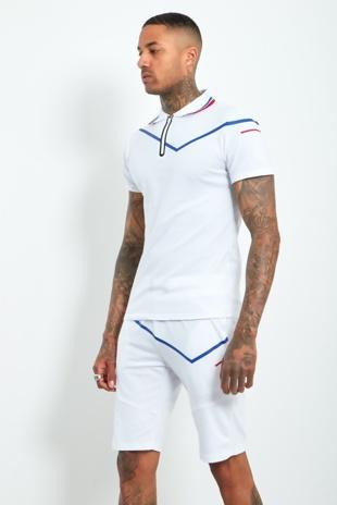 Mens White Zip Placket Stripe Detail Polo Shorts Set