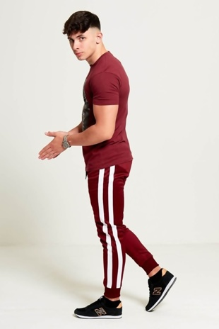 Mens Wine Aarhon Double Stripe Jogging Bottom