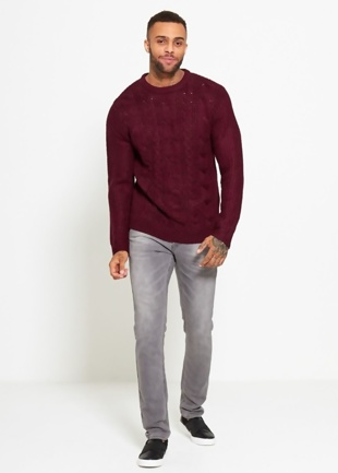 Mens Wine Cable Rib Knitted Jumper