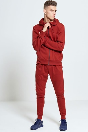 Mens Wine Hooded Ribbed Detail Tracksuit