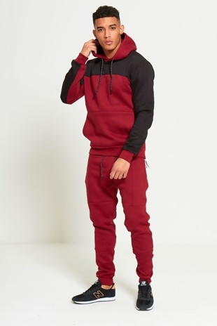 Mens Wine Tracksuit With Colour Block Detail