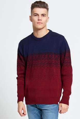 Mens Wine Two Tone Knitted Jumper