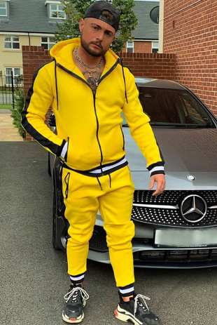 Mens Yellow Athleisure Contrast Cuff Skinny Tracksuit