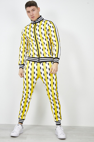 Mens Yellow Multi Broken Stripe Contrast Skinny Tracksuit