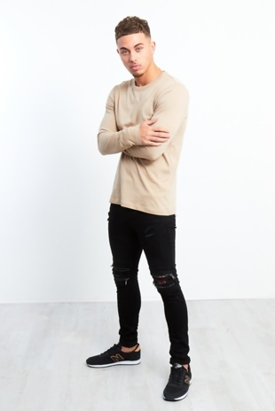 Mens Zipped Knee Hidden Text Black Skinny Jeans