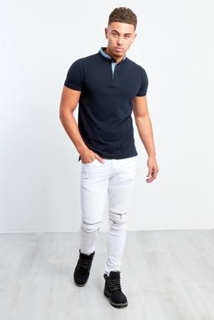 Mens Zipped Knee Hidden Text White Skinny Jeans