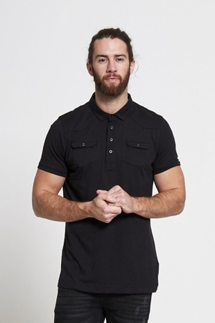 Mens Black Pocket Front Polo T-Shirt