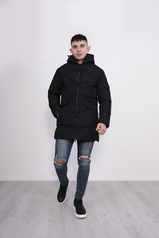 Mens Black Hooded Padded Parka Coat