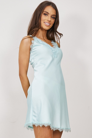 Mint Satin Floral Lace Trim Cami Dress