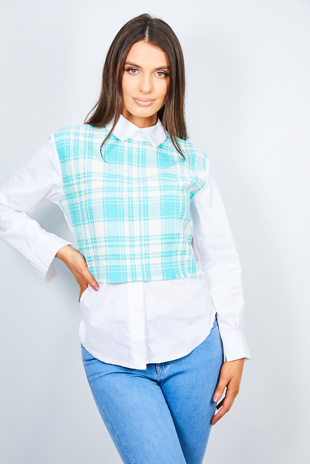 Mint Tweed Collar Shirt