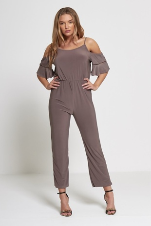Mocha Cold Shoulder Frill Sleeve Jumpsuit