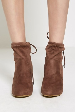 Mocha Faux Suede Heeled Ankle Boots
