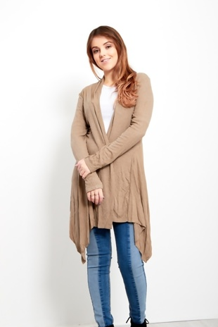 Mocha Ribbed Waterfall Cardigan