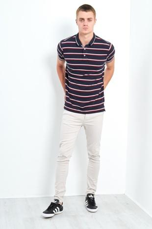 Mens Classic 3 Buttons Multi Stripe Polo Shirt