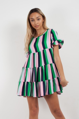 Multi Candy Stripe Frill Shift Dress