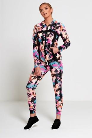 Multi Colour Bleached Effect Activewear Jogger Set