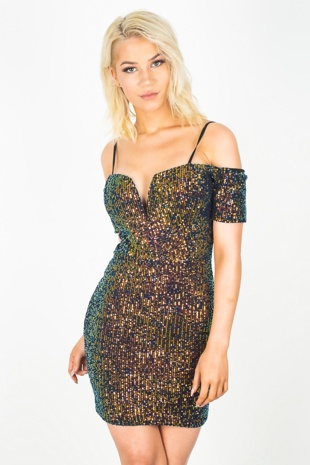 Multi Sequin V Bar Cup Detail Bodycon Dress