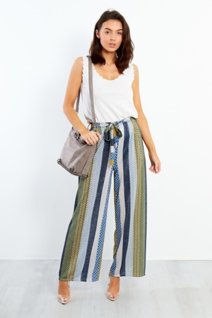 Multi Stripe Pattern Wide Leg Trouser