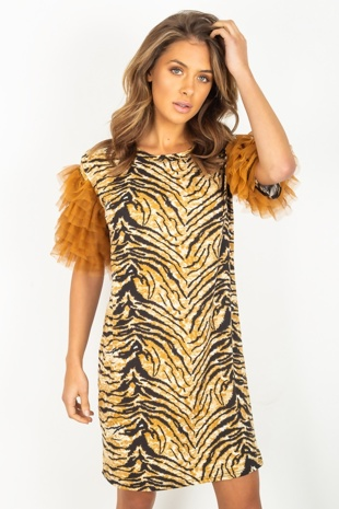 Multi Tiger Print Tulle Sleeve Mini Dress