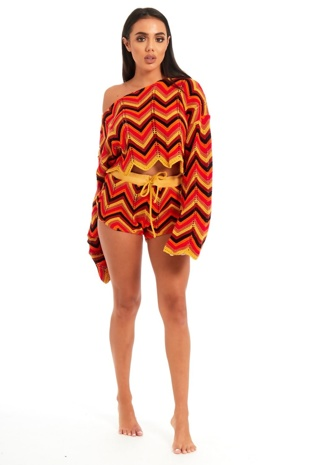 Multicoloured Knitted Zig Zag Pattern Crop Top And Short Set