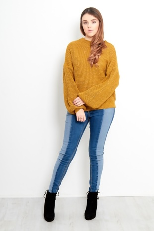 Mustard Bishop Sleeve Glitter Knit Jumper