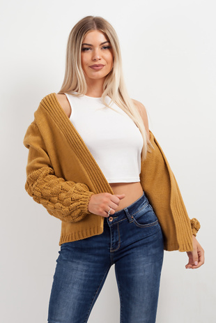 Mustard Bubble Sleeve Cardigan