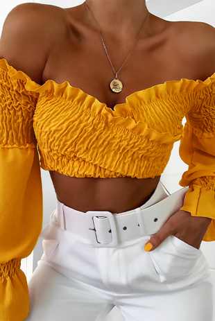 Mustard Elasticated Frill Sleeve Top
