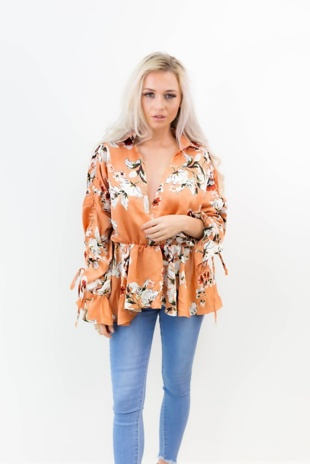 Mustard Floral Top With Frill Sleeves