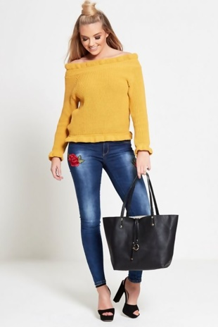 Mustard Frill Neck Knitted Jumper