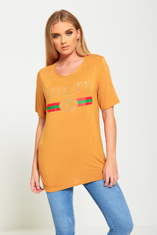 Mustard Guilty Slogan T-Shirt