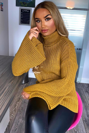 Mustard High Neck Cable Knit Jumper