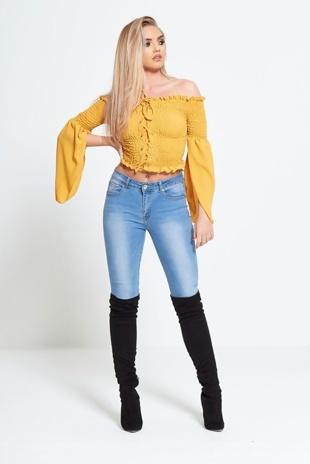 Mustard Lace Up Chiffon Split Sleeve Crop Top
