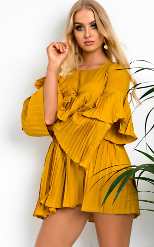 Mustard Pleated Ruffle Mini Dress