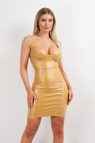 Mustard PU Glitter Bralet Bodycon Mini Dress