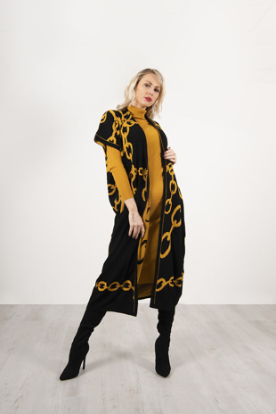 Mustard And Black Maxi Cardigan And Knitted Dress Set
