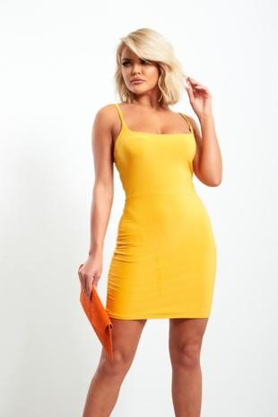 Mustard Spaghetti Strap Bodycon Mini Dress